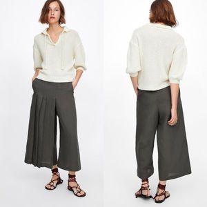 Zara Linen Olive Green Wide Leg Pants